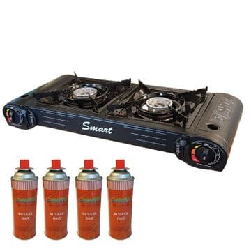 CAMPING DOUBLE BURNER BUTANE GAS STOVE COOKER + GAS CANNISTERS fishing caravan
